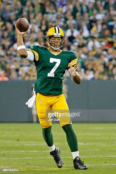 Brett Hundley of the Green Bay Packers throws a pass during the first quarter against the Philadelphia Eagles during a preseason game at Lambeau...