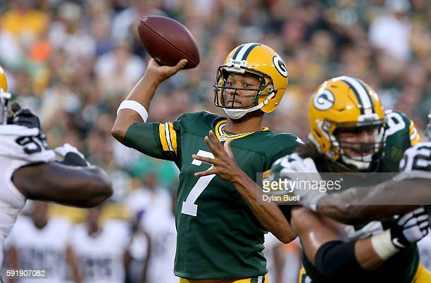 Brett Hundley of the Green Bay Packers throws a pass in the first quarter of a preseason game against the Oakland Raiders at Lambeau Field on August...