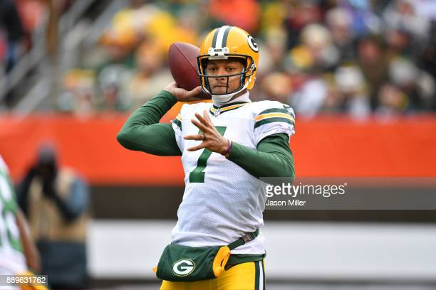 Brett Hundley of the Green Bay Packers throws a pass in the second quarter against the Cleveland Browns at FirstEnergy Stadium on December 10 2017 in...
