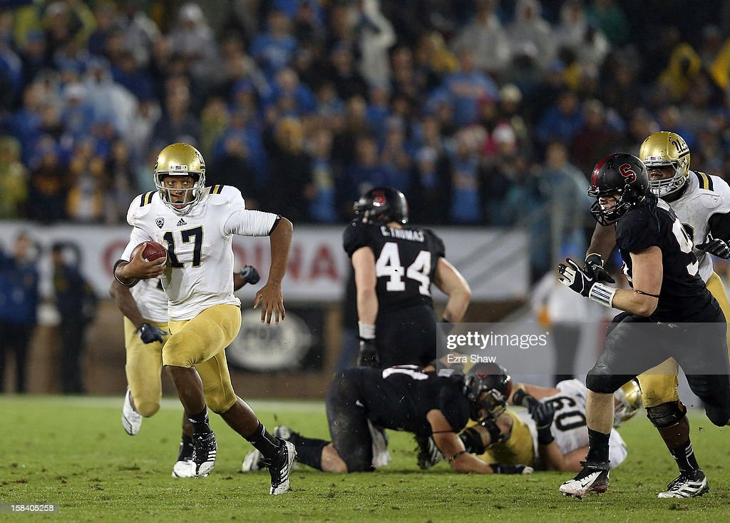 <a gi-track='captionPersonalityLinkClicked' href=/galleries/search?phrase=Brett+Hundley&family=editorial&specificpeople=8674236 ng-click='$event.stopPropagation()'>Brett Hundley</a> #17 of the UCLA Bruins in action against the Stanford Cardinal during the Pac-12 Championship game at Stanford Stadium on November 30, 2012 in Stanford, California.