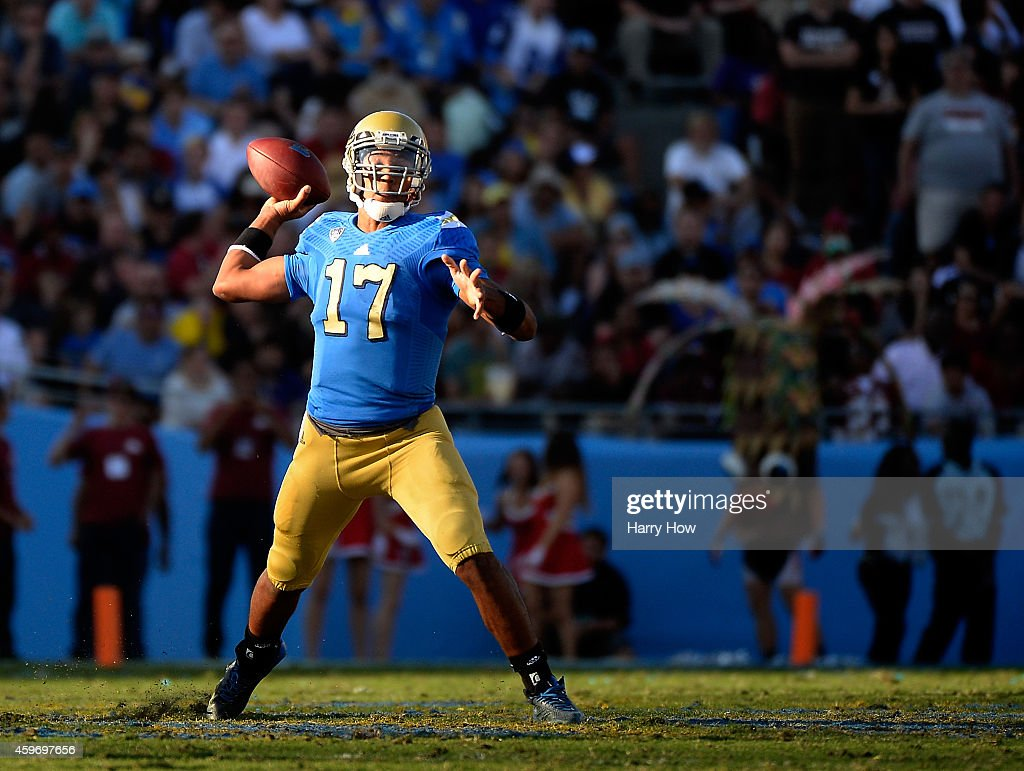 <a gi-track='captionPersonalityLinkClicked' href=/galleries/search?phrase=Brett+Hundley&family=editorial&specificpeople=8674236 ng-click='$event.stopPropagation()'>Brett Hundley</a> #17 of the UCLA Bruins makes a pass in the pocket during a 31-10 loss to the Stanford Cardinal at Rose Bowl on November 28, 2014 in Pasadena, California.