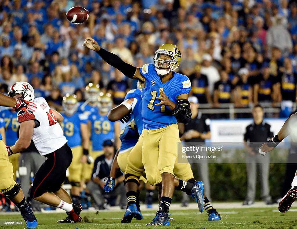 <a gi-track='captionPersonalityLinkClicked' href=/galleries/search?phrase=Brett+Hundley&family=editorial&specificpeople=8674236 ng-click='$event.stopPropagation()'>Brett Hundley</a> #17 quarterback of the UCLA Bruins throws a pass against Utah Utes during the first half at the Rose Bowl October 04, 2014, in Pasadena, California.