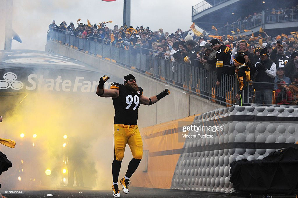 <a gi-track='captionPersonalityLinkClicked' href=/galleries/search?phrase=Brett+Keisel&family=editorial&specificpeople=748671 ng-click='$event.stopPropagation()'>Brett Keisel</a> #99 of the Pittsburgh Steelers is introduced to the crowd prior to their game against the Buffalo Bills at Heinz Field on November 10, 2013 in Pittsburgh, Pennsylvania.