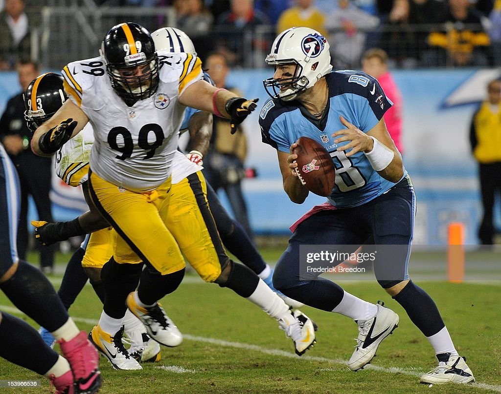 <a gi-track='captionPersonalityLinkClicked' href=/galleries/search?phrase=Brett+Keisel&family=editorial&specificpeople=748671 ng-click='$event.stopPropagation()'>Brett Keisel</a> #99 of the Pittsburgh Steelers pressures quarterback <a gi-track='captionPersonalityLinkClicked' href=/galleries/search?phrase=Matt+Hasselbeck&family=editorial&specificpeople=202628 ng-click='$event.stopPropagation()'>Matt Hasselbeck</a> #8 of the Tennessee Titans at LP Field on October 11, 2012 in Nashville, Tennessee.