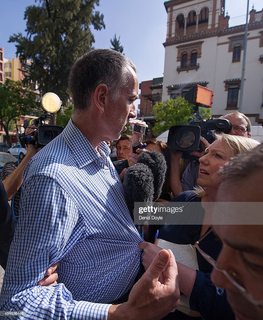 Brett King, father of five year old Ashya King, talks to members of the press after holding a press conference at his lawyer's office on September 3, 2014 in Seville, Spain. Brett and Naghmeh King were released from a Madrid prison late on September 2nd, after British authorities dropped an extradition request. Ashya King, who has a brain tumour, had been taken by his parents from a UK hospital against medical advice.