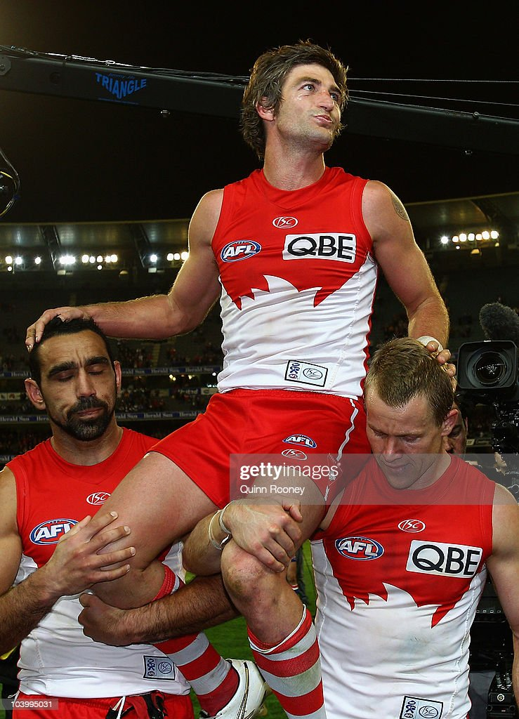Brett Kirk of the Swans is carried from the ground after playing his last game during the AFL First Semi Final match between the Western Bulldogs and the Sydney Swans at Melbourne Cricket Ground on September 11, 2010 in Melbourne, Australia.