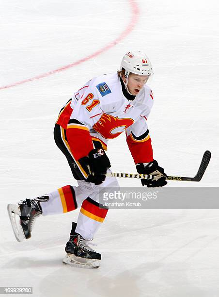 Brett Kulak of the Calgary Flames follows the play down the ice during third period action against the Winnipeg Jets on April 11 2015 at the MTS...
