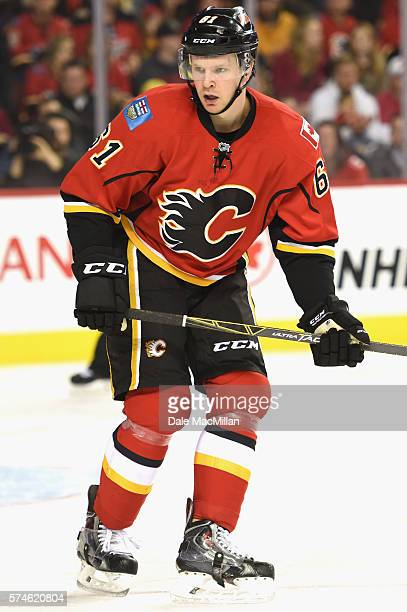 Brett Kulak of the Calgary Flames plays in the game against the Washington Capitals at Scotiabank Saddledome on October 20 2015 in Calgary Alberta...
