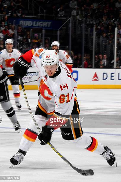 Brett Kulak of the Calgary Flames releases a slapshot during the game against the Los Angeles Kings on November 5 2016 at Staples Center in Los...