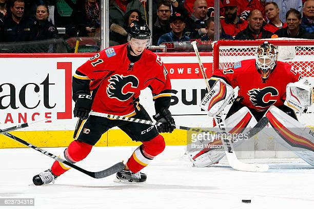 Brett Kulak of the Calgary Flames skates against the Arizona Coyotes during an NHL game on November 16 2016 at the Scotiabank Saddledome in Calgary...