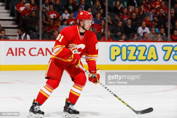 Brett Kulak of the Calgary Flames skates against the Chicago Blackhawks during an NHL game on November 18 2016 at the Scotiabank Saddledome in...