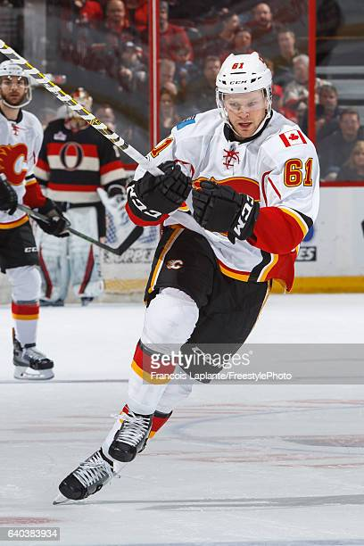 Brett Kulak of the Calgary Flames skates against the Ottawa Senators during an NHL game at Canadian Tire Centre on January 26 2017 in Ottawa Ontario...