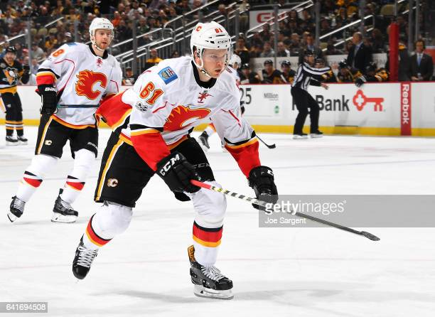 Brett Kulak of the Calgary Flames skates against the Pittsburgh Penguins at PPG Paints Arena on February 7 2017 in Pittsburgh Pennsylvania