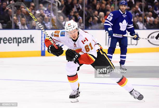 Brett Kulak of the Calgary Flames skates against the Toronto Maple Leafs during the second period at the Air Canada Centre on January 23 2017 in...