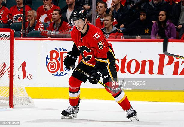 Brett Kulak of the Calgary Flames skates against the Washington Capitals during an NHL game at Scotiabank Saddledome on October 20 2015 in Calgary...