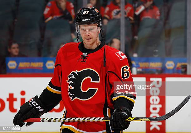 Brett Kulak of the Calgary Flames skates in warm up prior to the game against the Dallas Stars at Scotiabank Saddledome on November 10 2016 in...