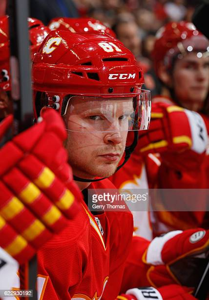 Brett Kulak of the Calgary Flames stays focused on the bench against the New York Rangers at Scotiabank Saddledome on November 12 2016 in Calgary...