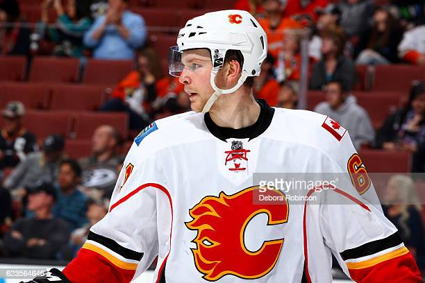 Brett Kulak of the Calgary Flames waits to resume play during the game against the Anaheim Ducks on November 6 2016 at Honda Center in Anaheim...