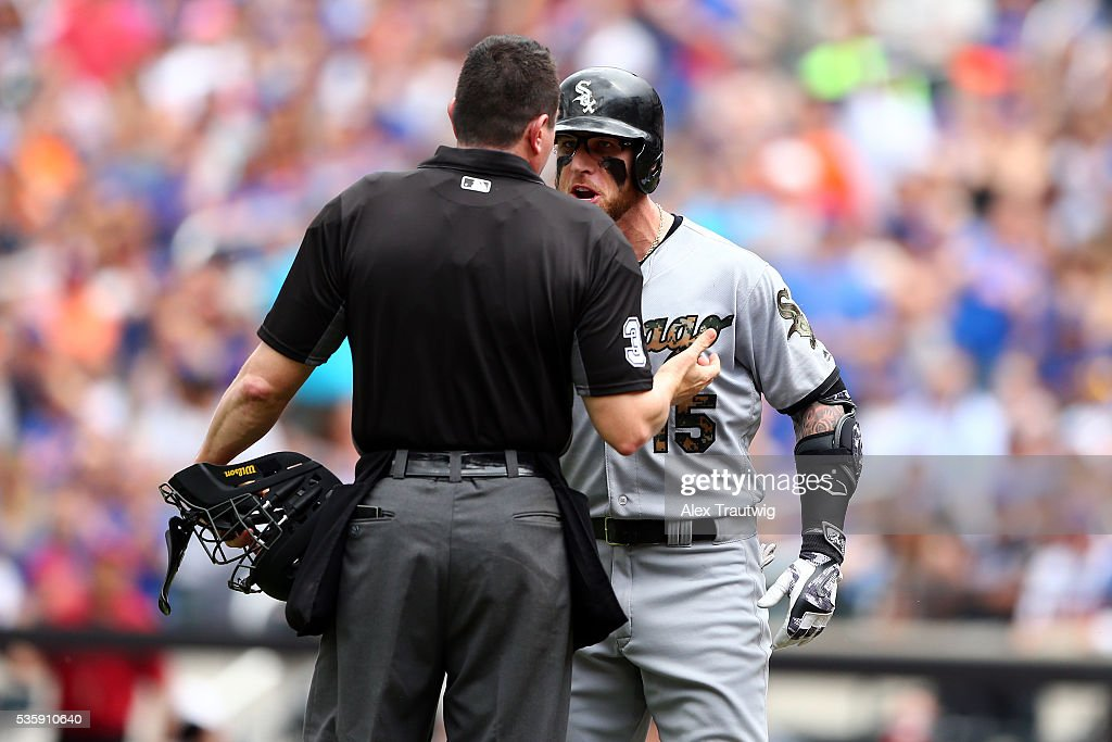<a gi-track='captionPersonalityLinkClicked' href=/galleries/search?phrase=Brett+Lawrie&family=editorial&specificpeople=5496694 ng-click='$event.stopPropagation()'>Brett Lawrie</a> #15 of the Chicago White Sox argues with home plate umpire Carlos Torres after striking out at the end of the second inning during the game against the New York Mets at Citi Field on Monday, May 30, 2016 in the Queens borough of New York City.