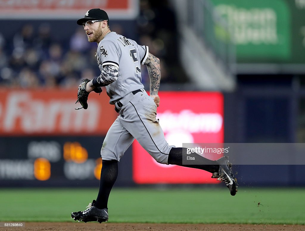 Brett Lawrie #15 of the Chicago White Sox celebrates after the final out of the sixth inning against the New York Yankees at Yankee Stadium on May 13, 2016 in the Bronx borough of New York City.Lawrie fielded a hit by Mark Teixeira of the New York Yankees to end the inning.