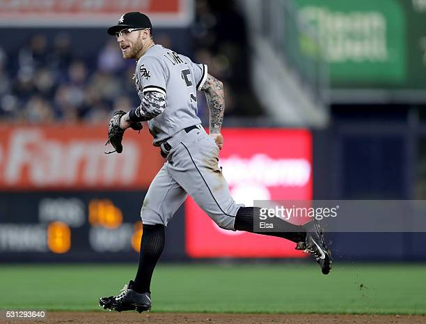 Brett Lawrie of the Chicago White Sox celebrates after the final out of the sixth inning against the New York Yankees at Yankee Stadium on May 13...