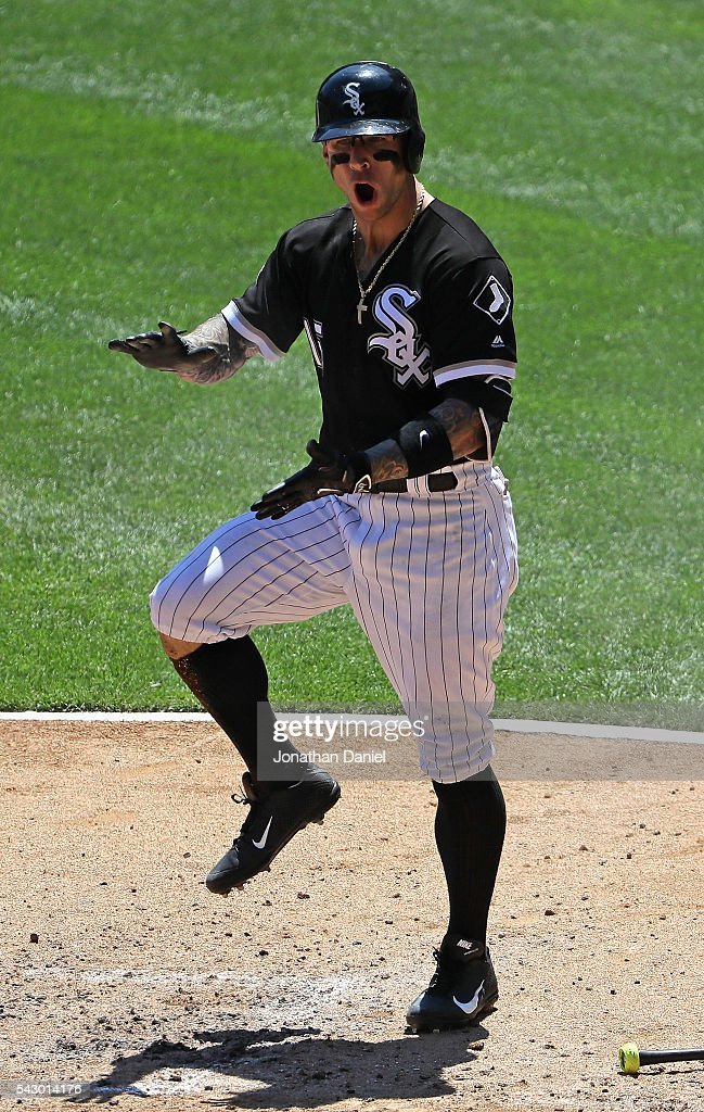 Brett Lawrie #15 of the Chicago White Sox celebrates his solo home run in the 2nd inning against the Toronto Blue Jays at U.S. Cellular Field on June 25, 2016 in Chicago, Illinois.