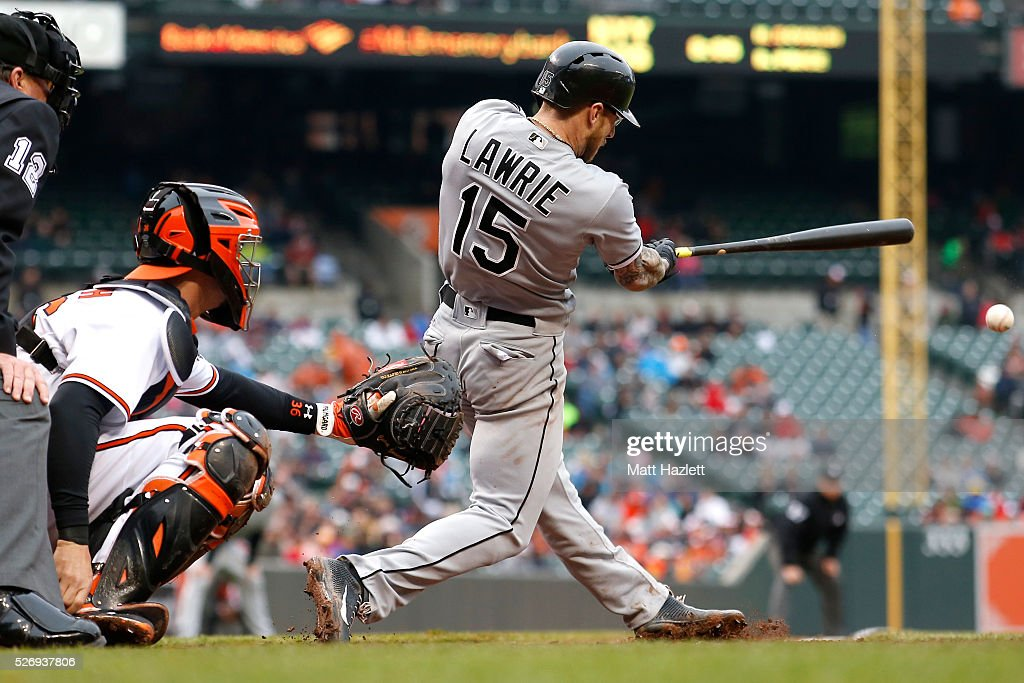 Brett Lawrie #15 of the Chicago White Sox hits a double in the seventh inning against the Baltimore Orioles at Oriole Park at Camden Yards on May 1, 2016 in Baltimore, Maryland.