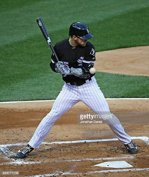 Brett Lawrie of the Chicago White Sox is hit by a pitch in the 2nd inning against the Kansas City Royals at US Cellular Field on May 20 2016 in...