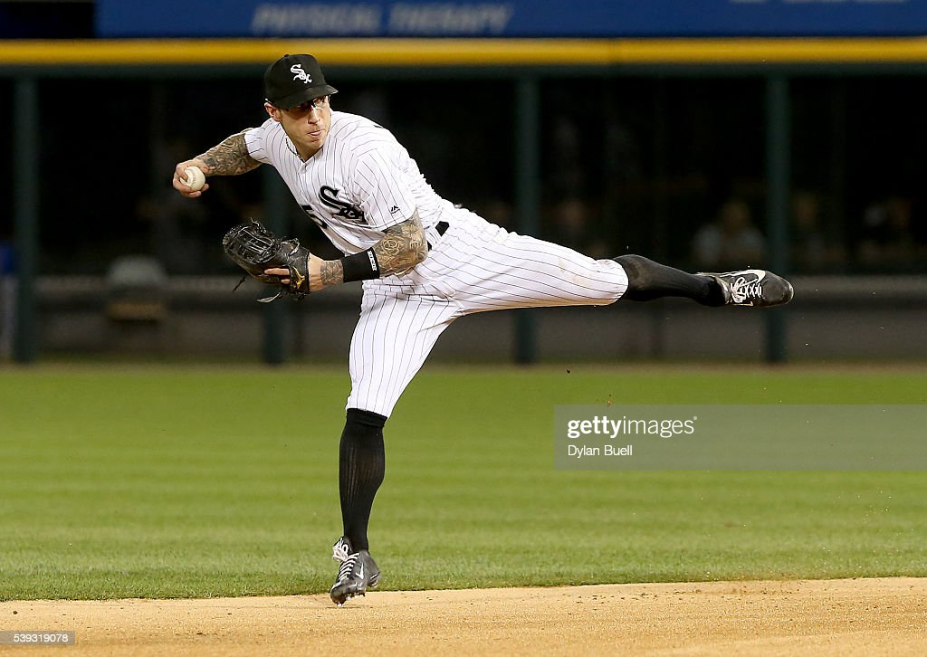 Brett Lawrie #15 of the Chicago White Sox throws to first base in the eighth inning against the Kansas City Royals at U.S. Cellular Field on June 10, 2016 in Chicago, Illinois.