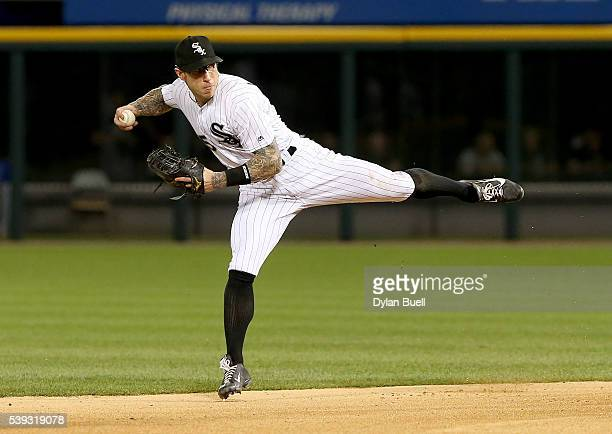 Brett Lawrie of the Chicago White Sox throws to first base in the eighth inning against the Kansas City Royals at US Cellular Field on June 10 2016...