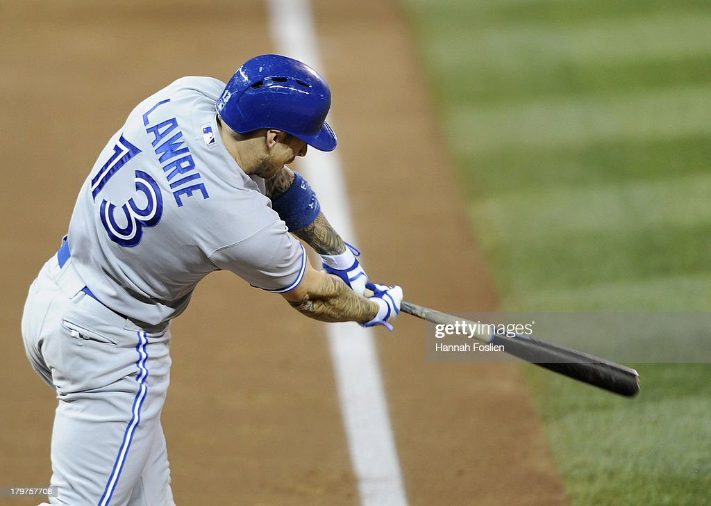 <a gi-track='captionPersonalityLinkClicked' href=/galleries/search?phrase=Brett+Lawrie&family=editorial&specificpeople=5496694 ng-click='$event.stopPropagation()'>Brett Lawrie</a> #13 of the Toronto Blue Jays hits a two-run single against the Minnesota Twins during the third inning of the game on September 6, 2013 at Target Field in Minneapolis, Minnesota.
