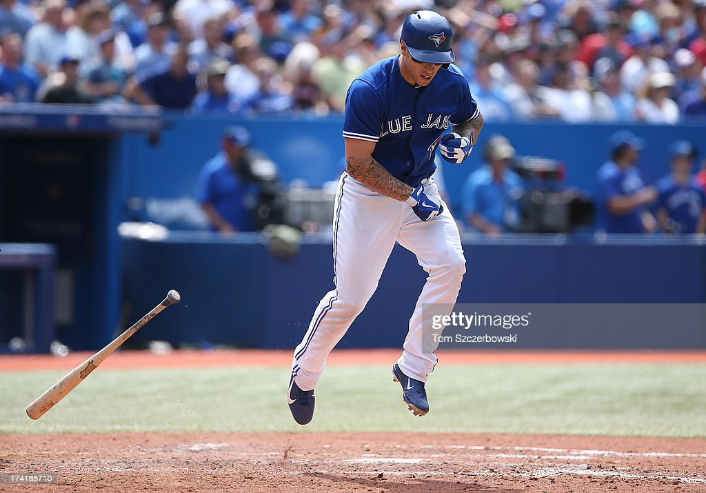 <a gi-track='captionPersonalityLinkClicked' href=/galleries/search?phrase=Brett+Lawrie&family=editorial&specificpeople=5496694 ng-click='$event.stopPropagation()'>Brett Lawrie</a> #13 of the Toronto Blue Jays reacts after making the final out of the sixth inning during MLB game action against the Tampa Bay Rays on July 21, 2013 at Rogers Centre in Toronto, Ontario, Canada.