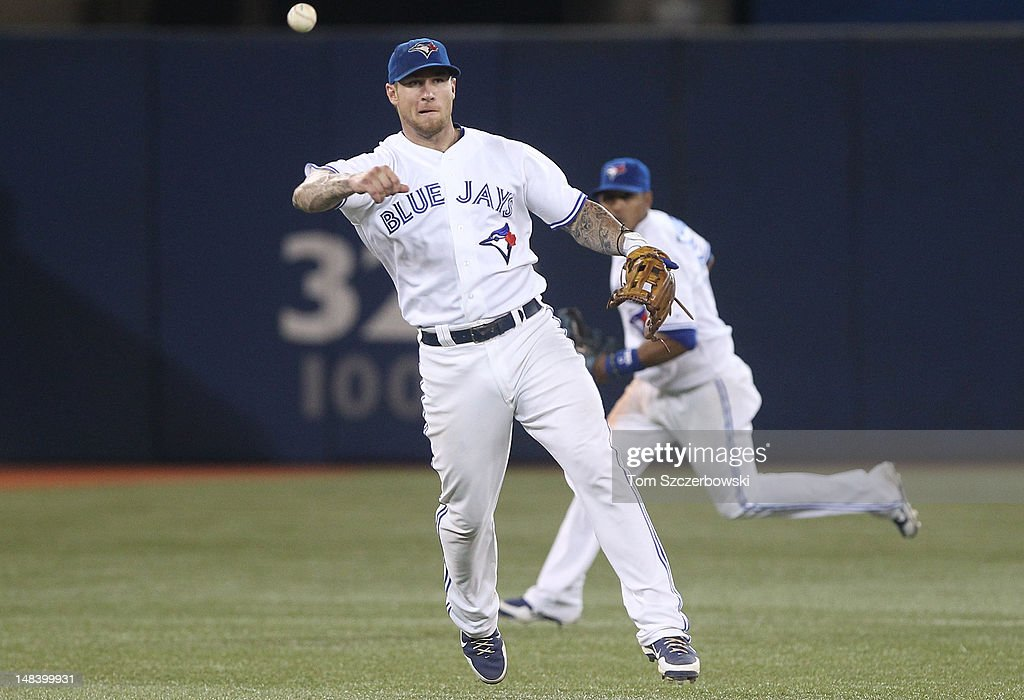 <a gi-track='captionPersonalityLinkClicked' href=/galleries/search?phrase=Brett+Lawrie&family=editorial&specificpeople=5496694 ng-click='$event.stopPropagation()'>Brett Lawrie</a> #13 of the Toronto Blue Jays throws out <a gi-track='captionPersonalityLinkClicked' href=/galleries/search?phrase=Casey+Kotchman&family=editorial&specificpeople=240573 ng-click='$event.stopPropagation()'>Casey Kotchman</a> #35 of the Cleveland Indians in the 9th inning of their MLB game on July 15, 2012 at Rogers Centre in Toronto, Ontario, Canada.