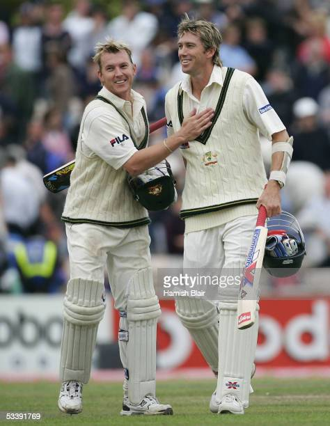 Brett Lee and Glenn McGrath of Australia celebrate after holding on to draw the match during day five of the Third npower Ashes Test between England...