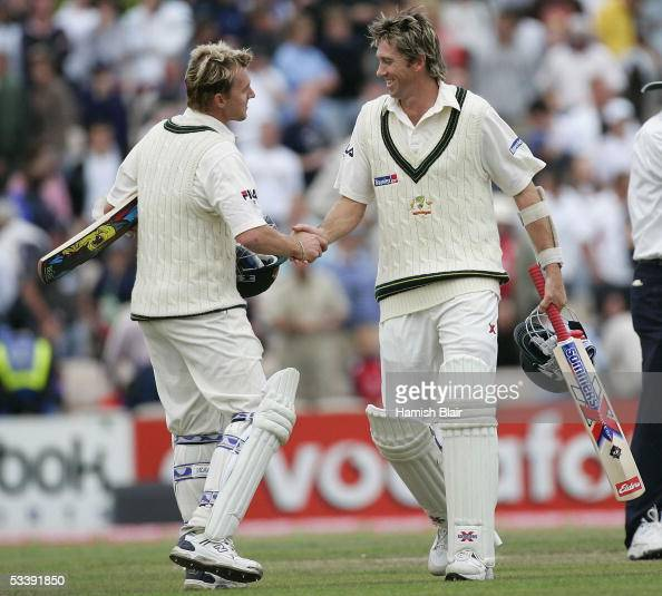 Brett Lee and Glenn McGrath of Australia celebrate after holding on to draw the match on day five of the Third npower Ashes Test between England and...