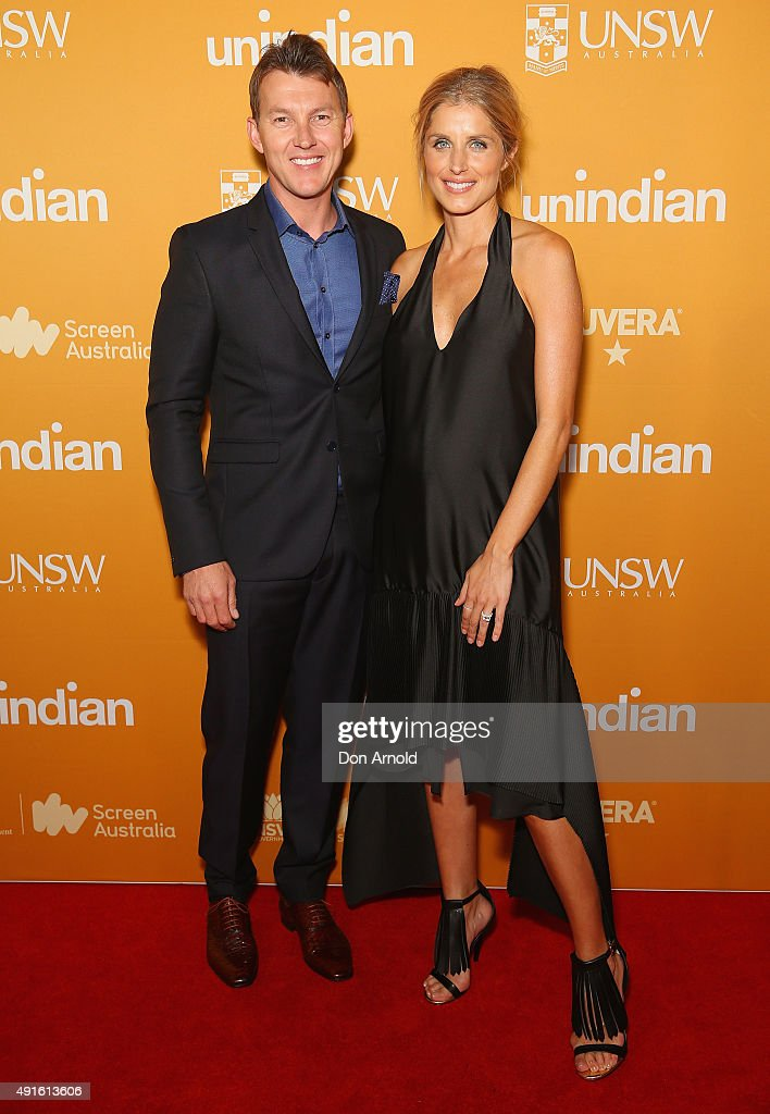 <a gi-track='captionPersonalityLinkClicked' href=/galleries/search?phrase=Brett+Lee&family=editorial&specificpeople=169885 ng-click='$event.stopPropagation()'>Brett Lee</a> and Lana Lee arrive ahead of the Australian premiere of unINDIAN on October 7, 2015 in Sydney, Australia.