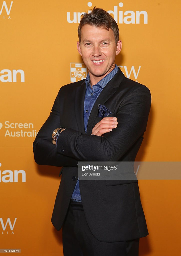 <a gi-track='captionPersonalityLinkClicked' href=/galleries/search?phrase=Brett+Lee&family=editorial&specificpeople=169885 ng-click='$event.stopPropagation()'>Brett Lee</a> arrives ahead of the Australian premiere of unINDIAN on October 7, 2015 in Sydney, Australia.