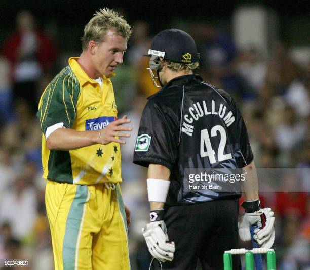 Brett Lee of Australia apologises to Brendon McCullum of New Zealand after striking him with a full toss during the 3rd One Day International between...