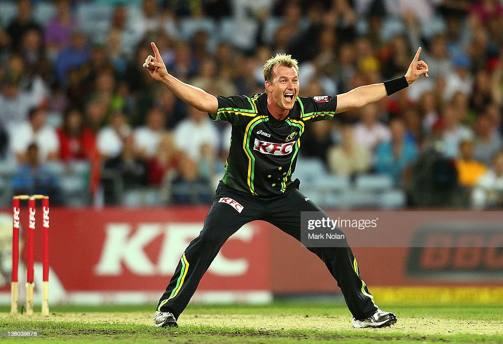 <a gi-track='captionPersonalityLinkClicked' href=/galleries/search?phrase=Brett+Lee&family=editorial&specificpeople=169885 ng-click='$event.stopPropagation()'>Brett Lee</a> of Australia appeals for the wicket of MS Dhoni during the International Twenty20 match between Australia and India at ANZ Stadium on February 1, 2012 in Sydney, Australia.