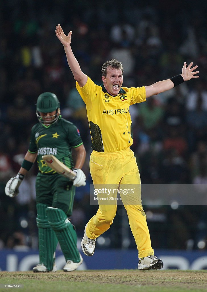 <a gi-track='captionPersonalityLinkClicked' href=/galleries/search?phrase=Brett+Lee&family=editorial&specificpeople=169885 ng-click='$event.stopPropagation()'>Brett Lee</a> of Australia appeals successfully for the lbw wicket of <a gi-track='captionPersonalityLinkClicked' href=/galleries/search?phrase=Kamran+Akmal&family=editorial&specificpeople=221679 ng-click='$event.stopPropagation()'>Kamran Akmal</a> during the 2011 ICC World Cup Group A match between Australia and Pakistan at the R. Premadasa Stadium on March 19, 2011 in Colombo, Sri Lanka.