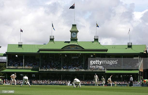 Brett Lee of Australia bowls in front of a backdrop of the members stand during day two of the fifth Ashes Test Match between Australia and England...