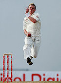 Brett Lee of Australia bowls on day five of the Second Test match between West Indies and Australia at Sir Vivian Richards Stadium on June 3 2008 in...