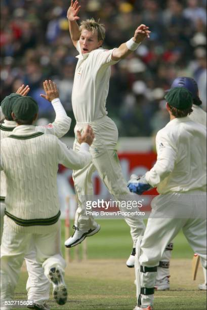 Brett Lee of Australia celebrates after getting the wicket of Monty Panesar of England during the 4th Test match between Australia and England at the...