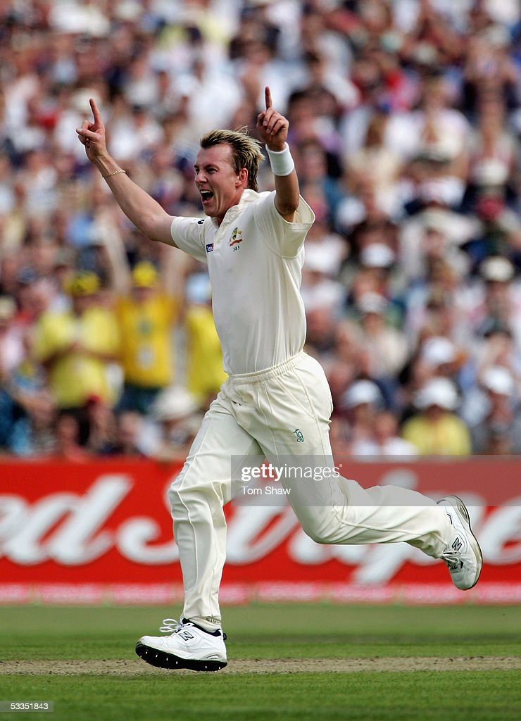 <a gi-track='captionPersonalityLinkClicked' href=/galleries/search?phrase=Brett+Lee&family=editorial&specificpeople=169885 ng-click='$event.stopPropagation()'>Brett Lee</a> of Australia celebrates the wicket of Andrew Strauss of England during day one of the Third npower Ashes Test match between England and Australia at Old Trafford on August 11, 2005 in Manchester, England.