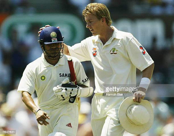 Brett Lee of Australia congratulates Sachin Tendulkar of India as India declares during day three of the 4th Test between Australia and India at the...