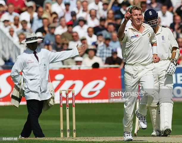 Brett Lee of Australia prematurely celebrates after bowling Marcus Trescothick of England off a no ball signaled by umpire Aleem Dar during day one...