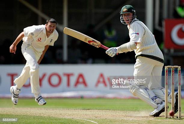 Brett Lee of Australia scores off a ball from Steve Harmisson of England during day four of the second npower Ashes Test match between England and...