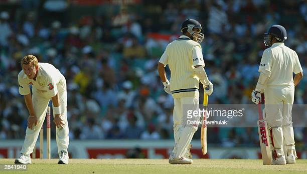 Brett Lee of Australia shows his frustration after Jason Gillespie dropped Ganguly off his bowling during day two of the fourth Test between...