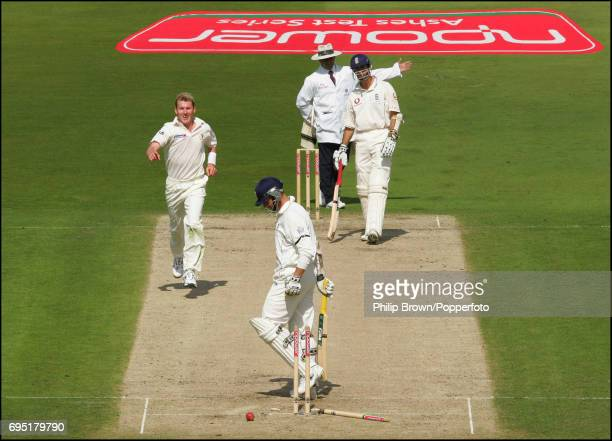 Brett Lee of Australia starts to celebrate after bowling Marcus Trescothick of England but umpire Aleem Dar signals a no ball during the 4th Ashes...