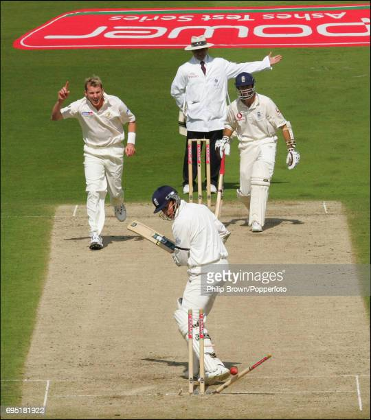 Brett Lee of Australia starts to celebrate after bowling Marcus Trescothick of England not realising that umpire Aleem Dar has called a no ball...